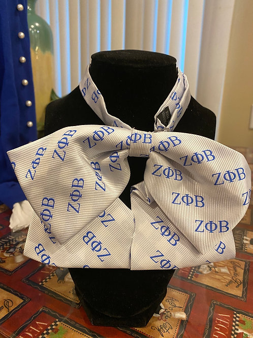 Zeta Phi Beta (White with Blue Letters ) Bowties