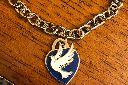Blue Heart and Dove Stainless Steel Bracelet