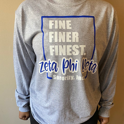 Zeta Fine Finer Finest 2 T-shirt (Gray)
