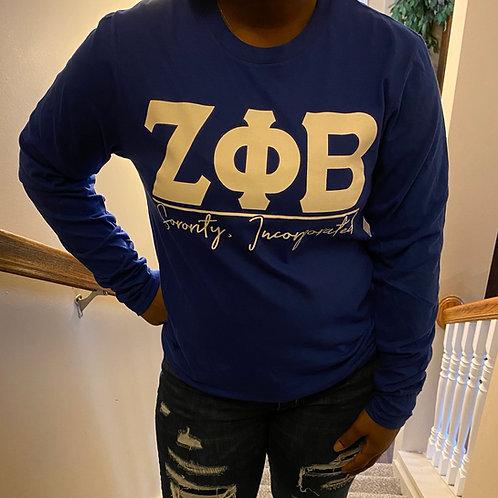 Zeta Phi Beta Royal Letter T-shirt
