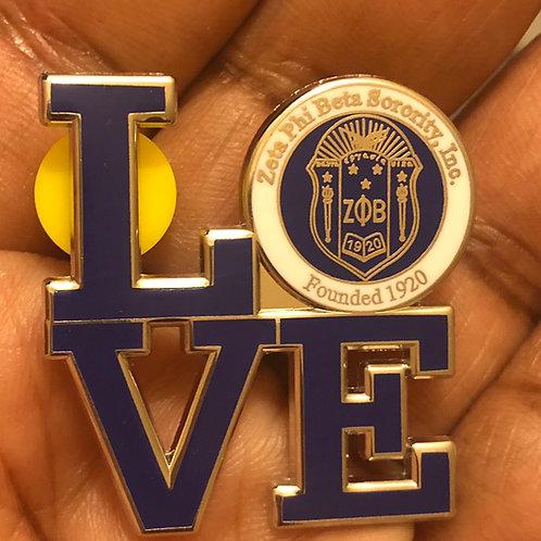 Zeta Phi Beta LOVE pin