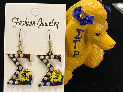 Sigma Gamma Rho Rubies and Pearls Earrings