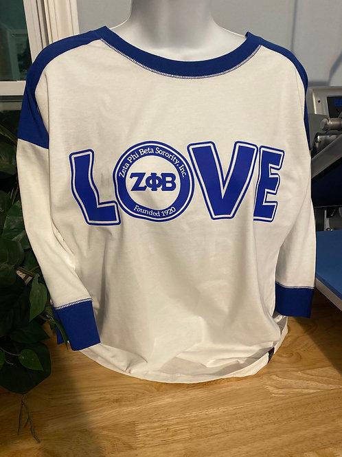 Royal/White LOVE Zeta T-Shirt