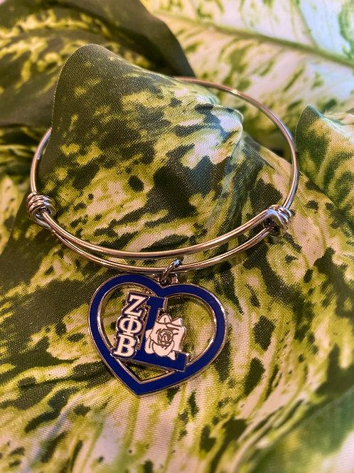 Zeta Life Member Heart Bangle Bracelet