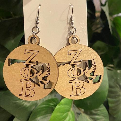 Maryland  Zeta Wooden Earrings-2 inches