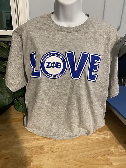 Gray LOVE Zeta T-Shirt