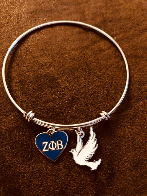 Zeta Heart and Dove Stainless Bracelet