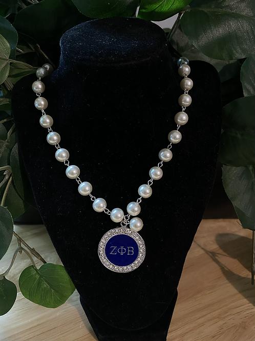 Zeta Crystal  Pearl Necklace