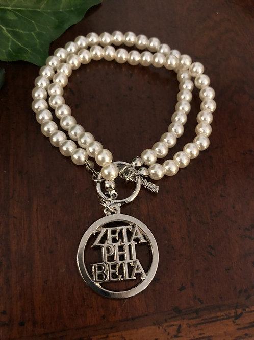 Zeta Phi Beta Letter Pearl Toggle Bracelet