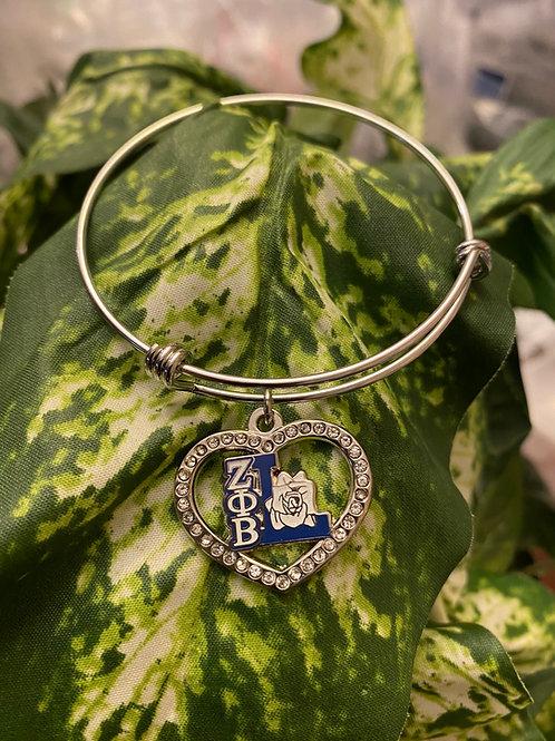 Zeta Life Member Crystal Heart Bangle Bracelet