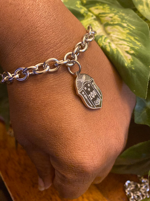 Zeta Stainless Shield Steel Bracelet