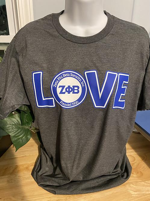 Charcoal LOVE Zeta T-Shirt