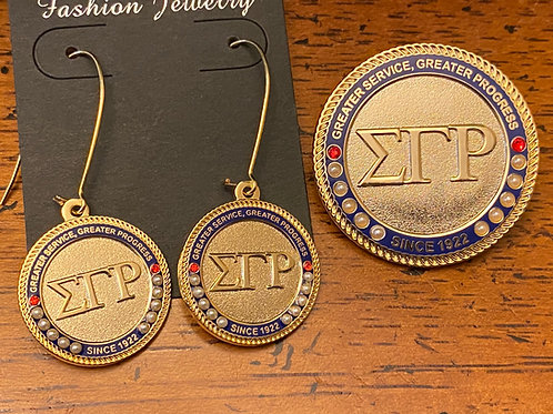 SGRho Gold Executive Set (pin and earrings)