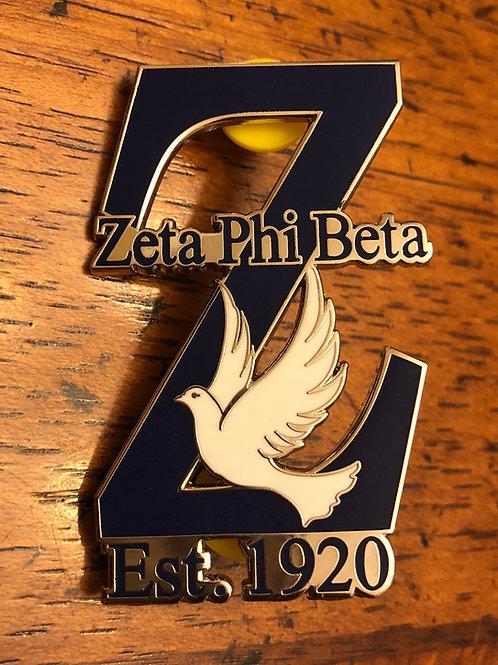 Zeta Z-Dove Lapel Pin