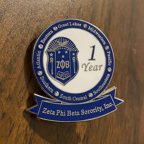Zeta 1 Year of Service Pin