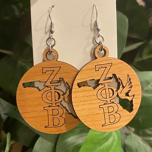 Florida Zeta Wooden Earrings-2 inches