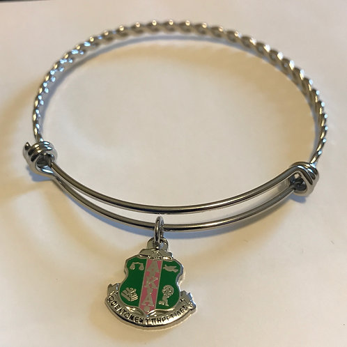 Alpha Kappa Alpha Shield Stainless Steel Bracelet