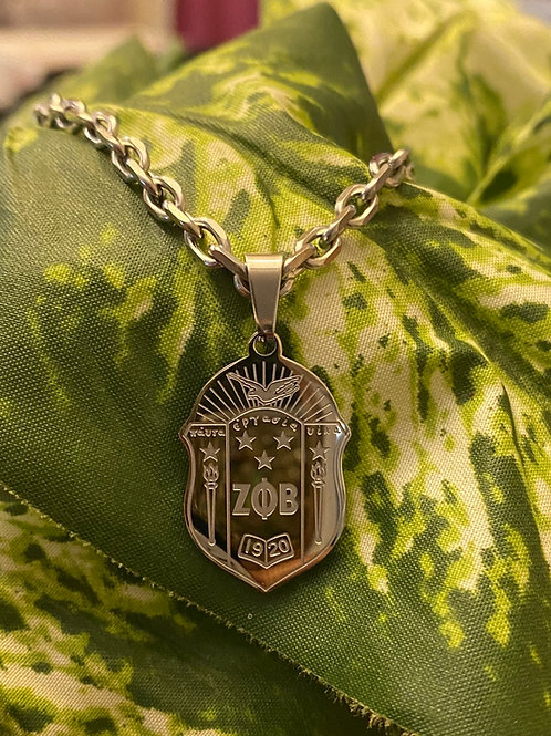 Zeta Stainless Shield necklace (25mm)