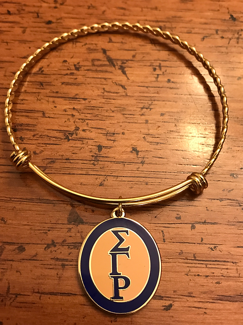 Gold Plated Stainless SGRho Oval Letter Bracelet