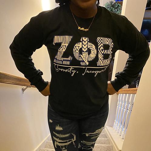Zeta Phi Beta Black Tribal Letter T-shirt