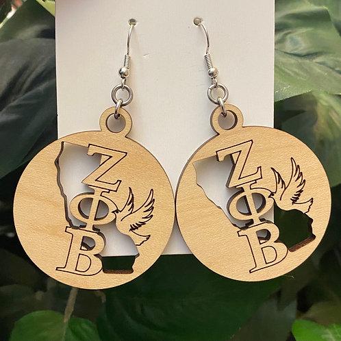 California Zeta Wooden Earrings-2 inches