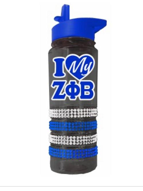 Zeta Phi Beta Crystal Water Bottle