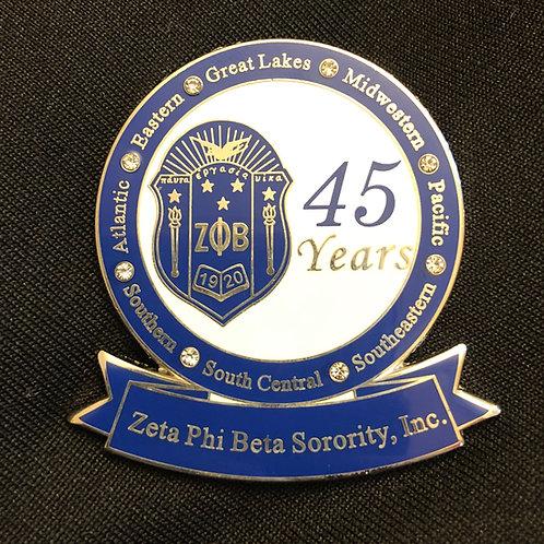 Zeta 45 Years of Service Pin