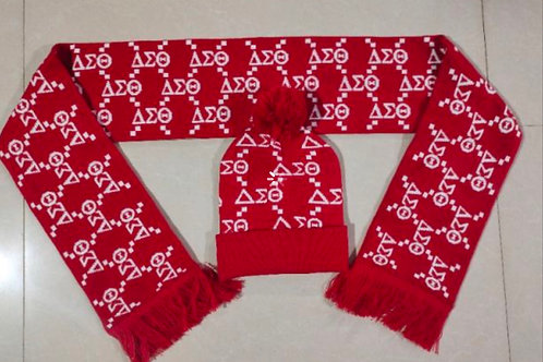 Delta Sigma Theta Letter Hat and Scarf Set