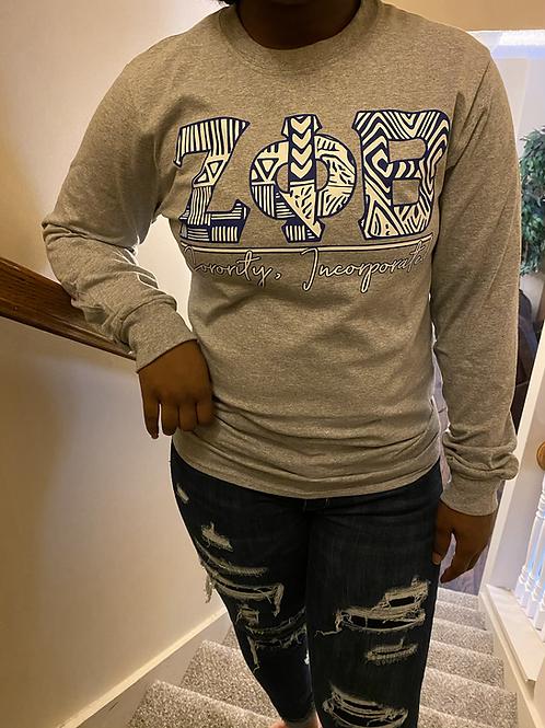 Zeta Phi Beta Gray Tribal Letter T-shirt