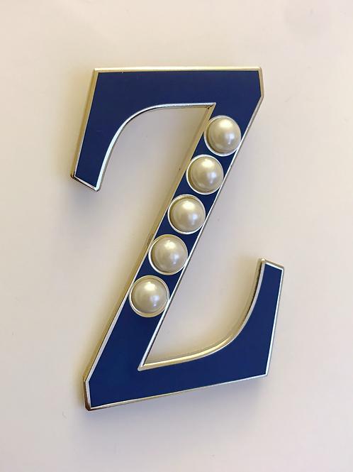 Zeta Phi Beta Large Z with White Pearls