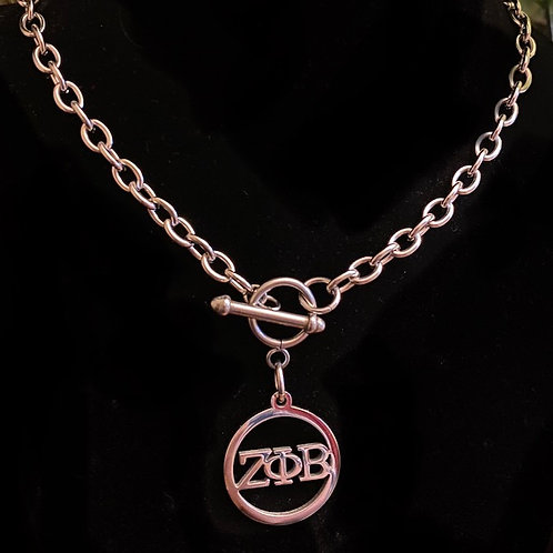 Zeta Letter Stainless Toggle Necklace (25mm)