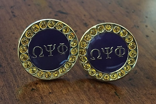 Omega Psi Phi Gold Crystal Cufflinks