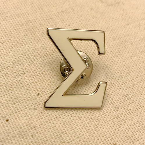 White Sigma Letter Lapel Pin