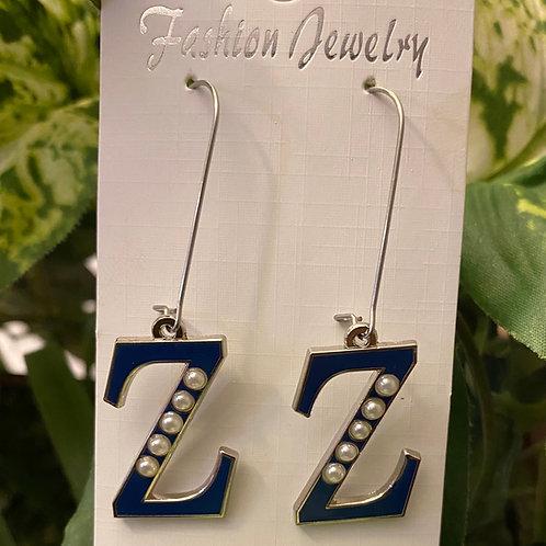 Blue Z with Pearl Earrings