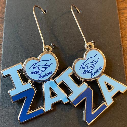 """Zeta Amicae """"I Love ZA"""" Earrings"""