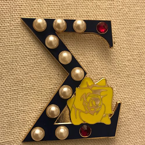 Large Sigma (2 inches) Pearls and Ruby Lapel Pin