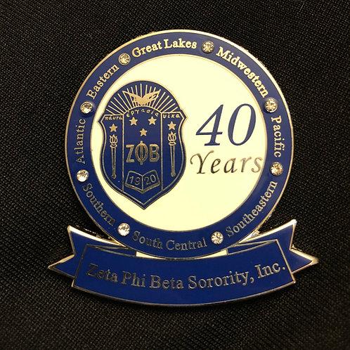 Zeta 40 Years of Service Pin