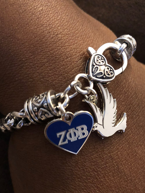 Zeta Heart and Dove Lobster Claw Bracelet