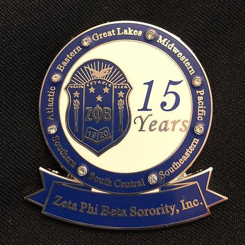 Zeta 15 Years of Service Pin
