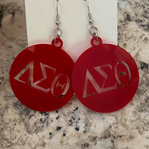 Delta Red Acrylic Cut Out Earrings