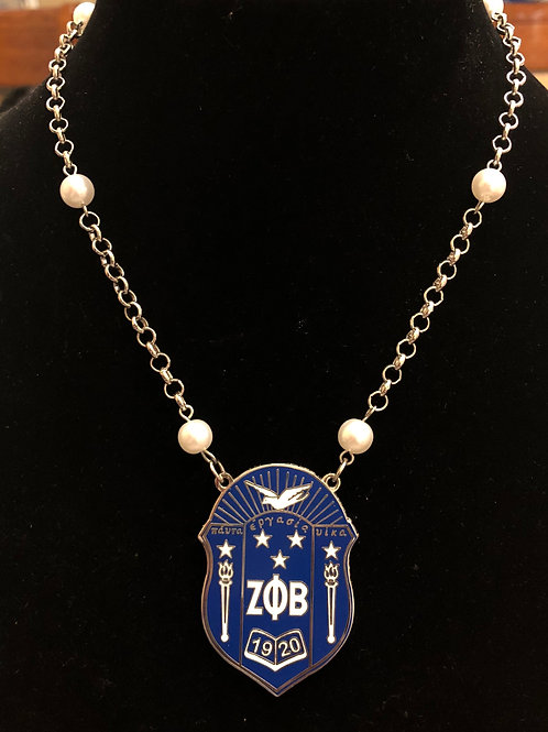 Zeta Phi Beta Large Shield Pearl Necklace