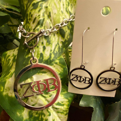 Zeta Letter Stainless Set (Necklace and Earrings) (45mm)