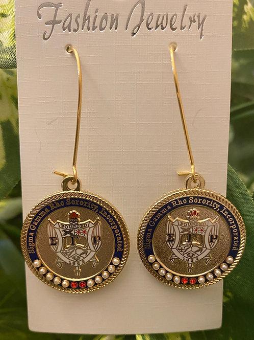 SGRho Gold Shield Executive Earrings