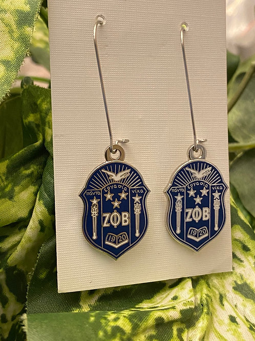 Zeta Phi Beta Mini Shield Earrings