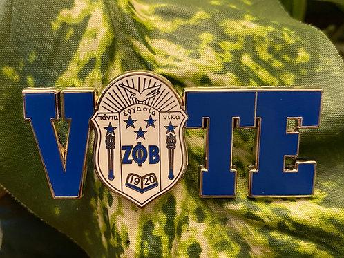 Zeta White Shield Vote Pin