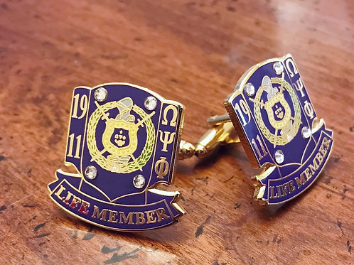 Purple Omega Psi Phi Life Member Cufflinks