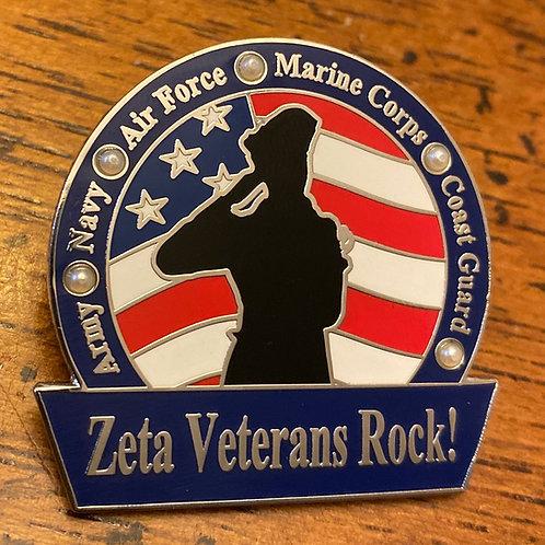 Zeta Pearl Veterans Rock Lapel Pin