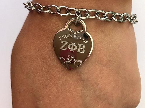 Zeta Phi Beta Stainless Heart Bracelet