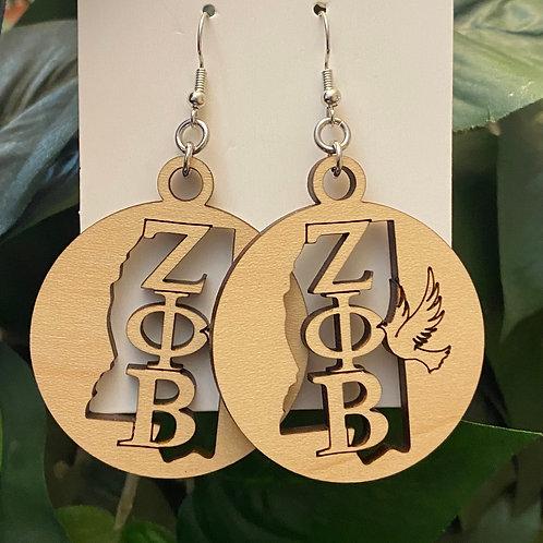 Mississippi Zeta Wooden Earrings-2 inches
