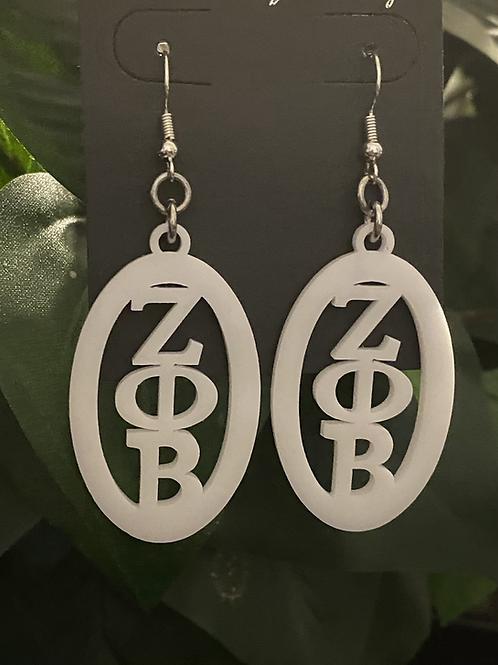 Zeta Oval White Acrylic Earrings